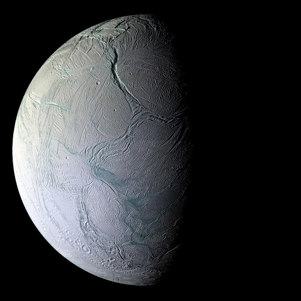A stunning image of Enceladus by NASA's Cassini spacecraft