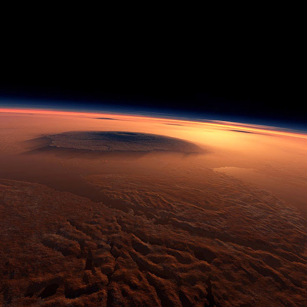 The Martian volcano Olympus Mons seen from the Lycus Sulci