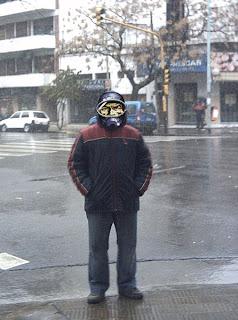 Nieva en el barrio de Flores, Ciudad de Buenos Aires