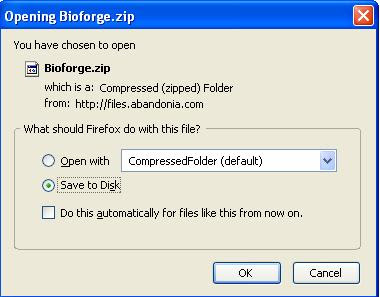 Saving Bioforge zip file