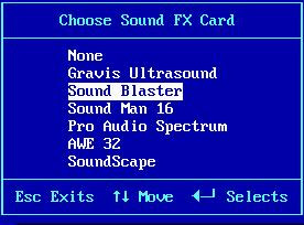 Choosing Sound Blaster card