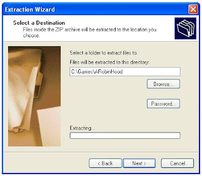 Zip file extraction program