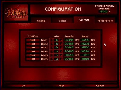 CD-ROM configuration menu