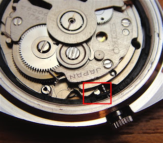 On To The Modern 7S26 And 7S36 Movement Both Share Same Method Of Removing Winding Stem Push Piece Indicated In Red