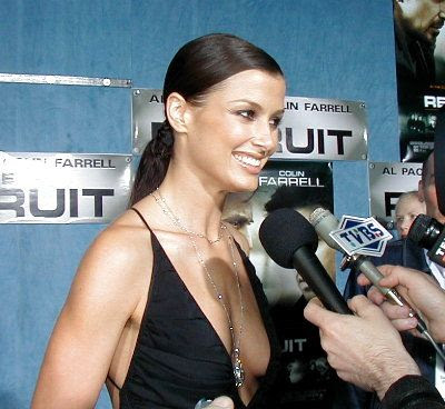 Bridget Moynahan black dress lowneck smile closeup