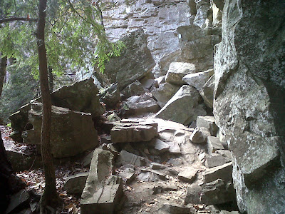 rockfall blocking trail