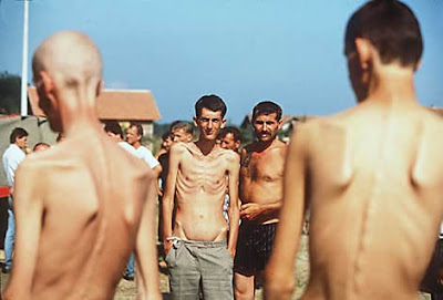 Prisoners at Trnopolje concentration camp in Prijedor Municipality 1992.