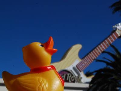 vegas baby rubber duck photo in front of the hard rock casino