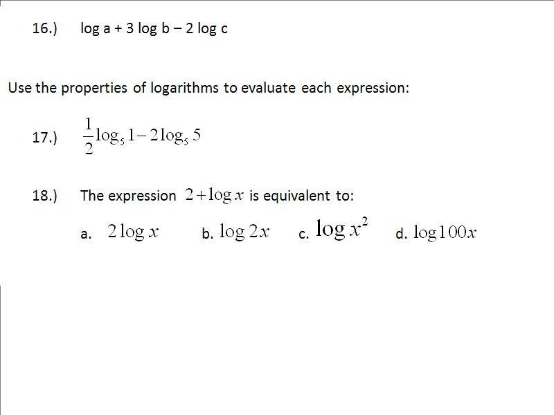 ft Log Laws – Properties of Logarithms Worksheet