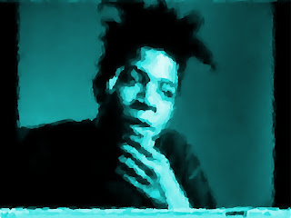 Artistic-photolytic image of Jean-Michel Basquiat by artist Paul Grant (follower of Basho)