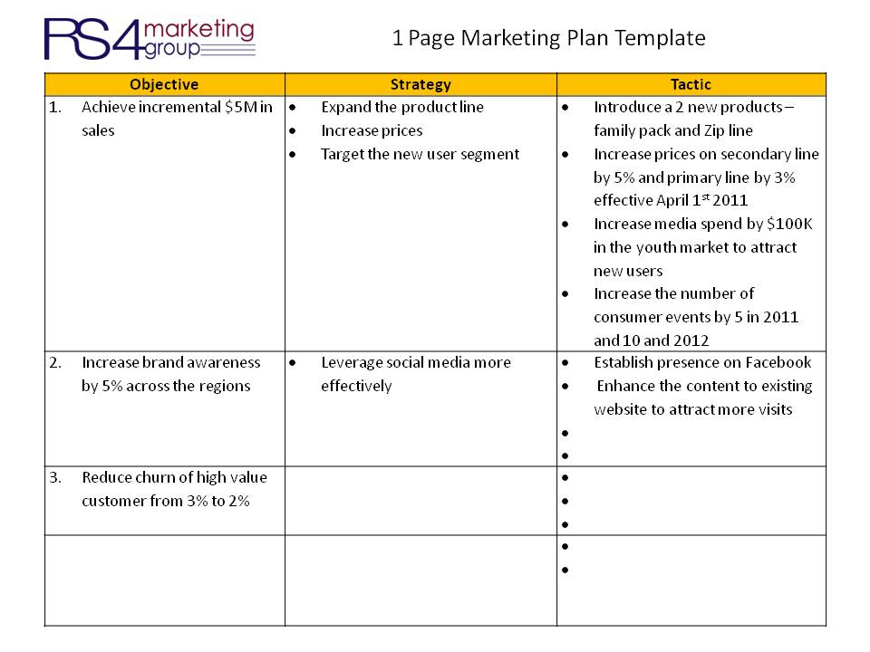 One Page Marketing Plan - RS4