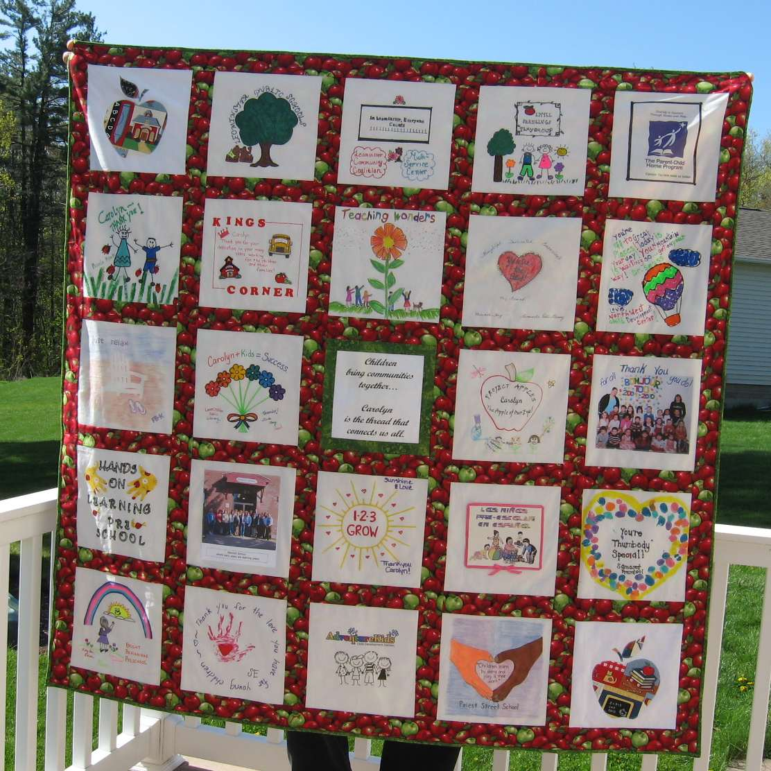 hooked on needles: apple quilt retirement gift