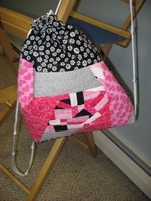 Pink and Black Cinch Sack
