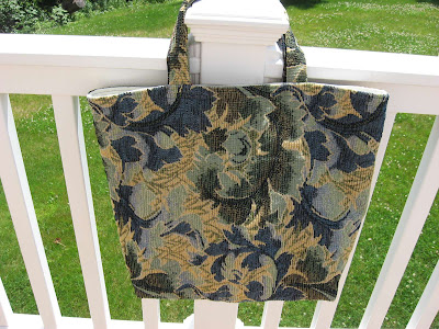 Blue Floral Tote Bag Side 2
