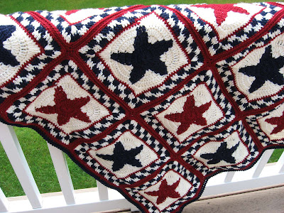 crocheted red, white and blue Sweet Liberty afghan