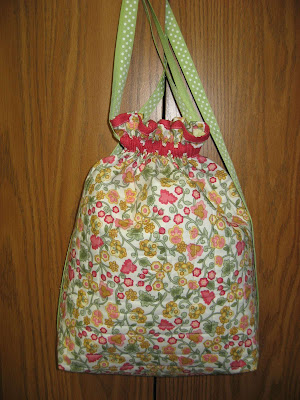 Red Floral cinch sack