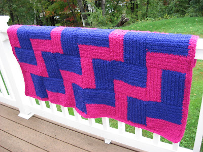 Pink and Purple Crocheted Afghan ~ Complete!