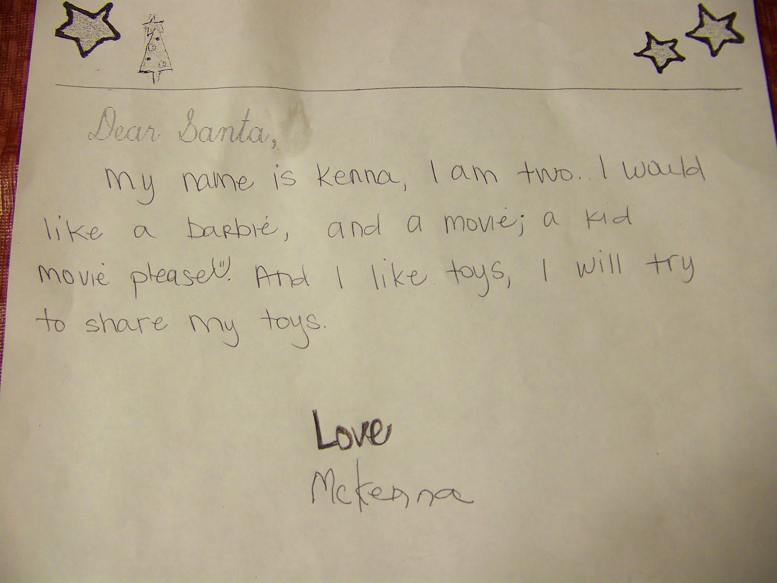 Cowden Family Dear Santa Letters