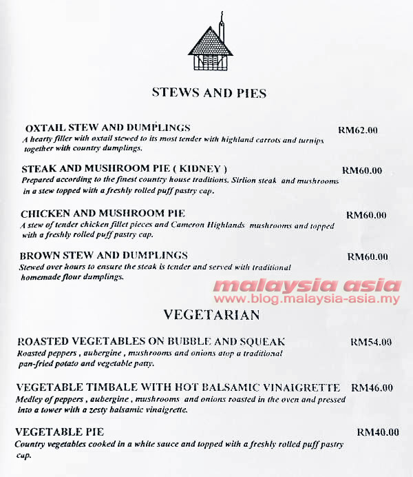 Menu Cameron Highlands Smokehouse