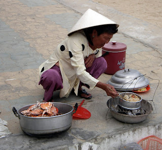 Cooking right on the sidewalk