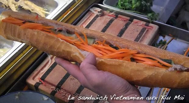 Sandwich vietnamien - Carottes croquantes et baguette croustillante