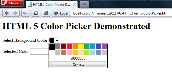 Inspired by Actual Events: HTML5 Color Picker