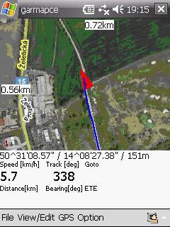 テレジーンからリトメリチェへ。GPSの表示