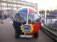 Creme Egg car outside Cadbury World, Birmingham UK