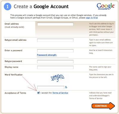 Blogger create a Google account