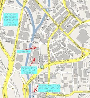 map Pasar Seni (Central Market) Jalan Hang Kasturi Kuala Lumpur