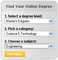 Online degree search by degree level, category and subject