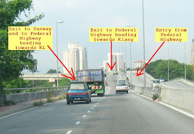 Entry and exit to Federal Highway from Sungei Way Free Trade Zone