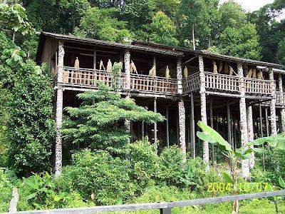 Borneo Sarawak native longhouse