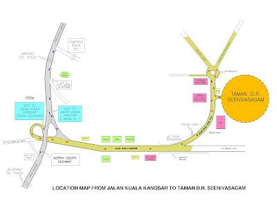 location map Taman D.R. Seenivasagam Ipoh Perak