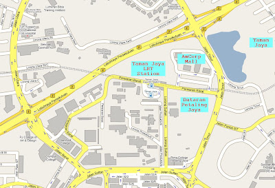 Location map Dataran Petaling Jaya or better known as Padang Jalan Timur