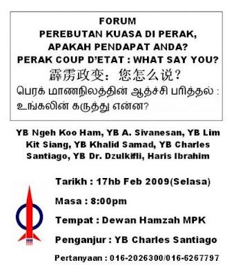 Perak Coup D'etat Forum Notice
