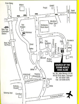 Simplified location map Church of Divine Mercy Shah Alam
