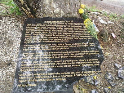 Perak Democracy Tree plaque vandalized