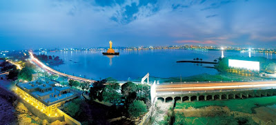 Hussain Sagar Lake in night