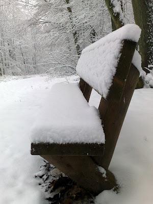 bench, snow,