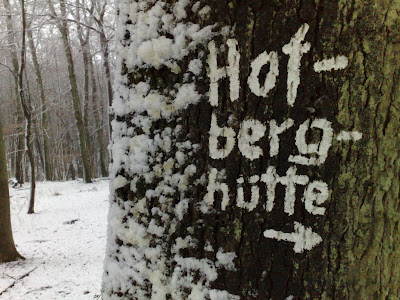 sign, snow, tree