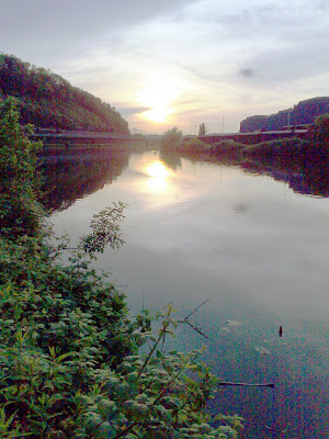 river, saar, sunset