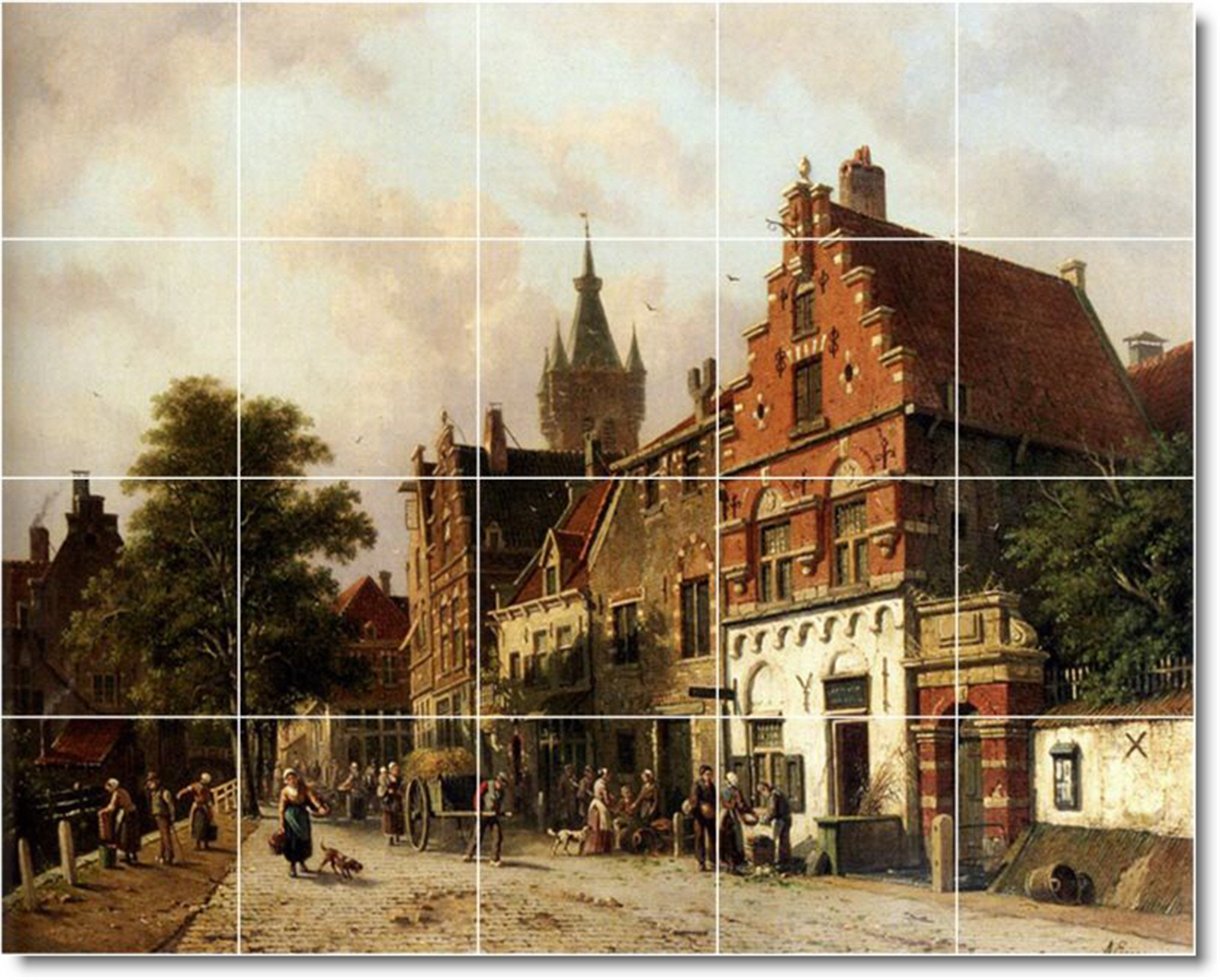 City scene tile murals for Delft tile mural