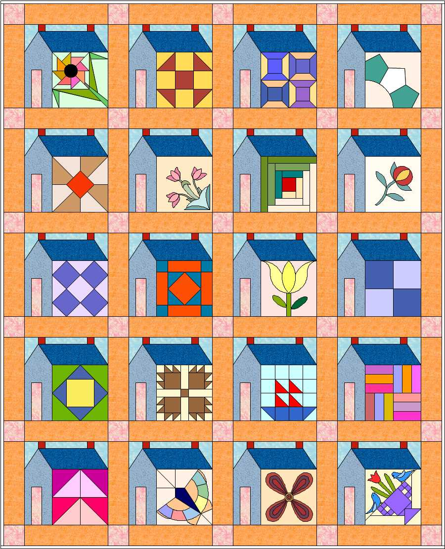 Free Quilt Patterns Of Houses : Idea, Blockwithinahouse Inspiration, House Patterns, Quilts House, House Blocks, Blocks Quilts ...