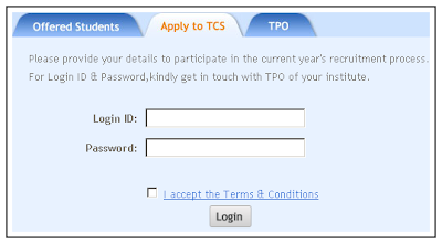 TCS  Campus Recruitment Freshers Form