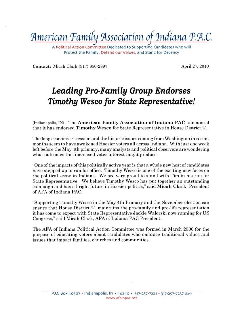 Awesome ... Endorsement Letter For Election News Timothy Wesco American Family Assn  Pac Endorses Wesco ...