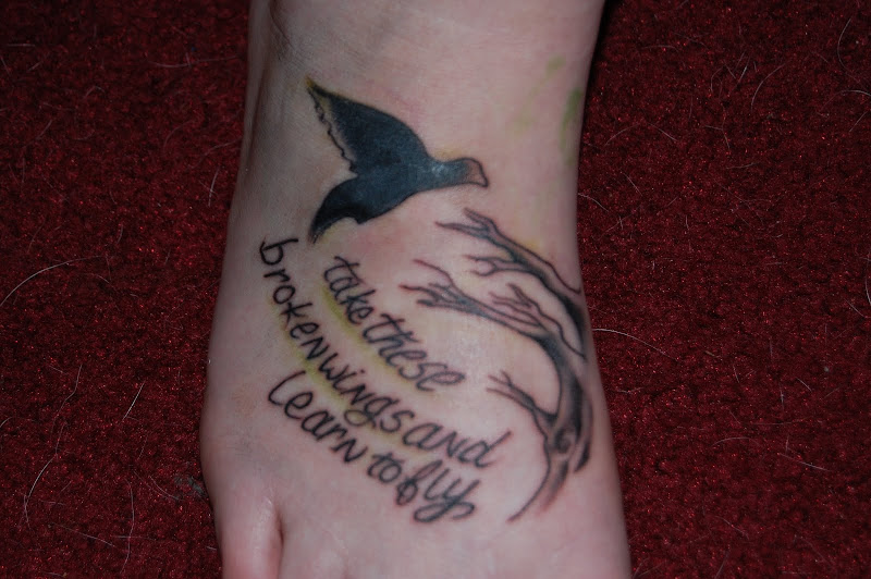tattoo was on my right foot its a beatles lyric from the first beatles  title=
