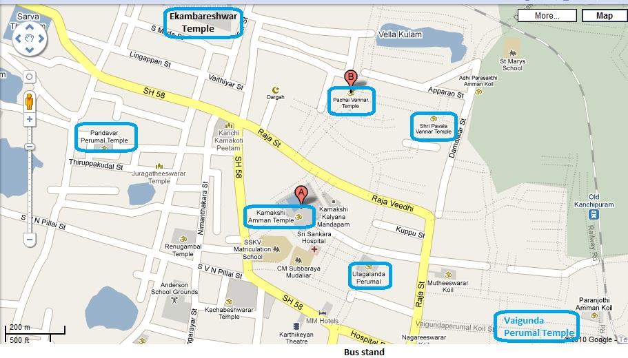 Temples of India Kanchipuram Divyadesams route map