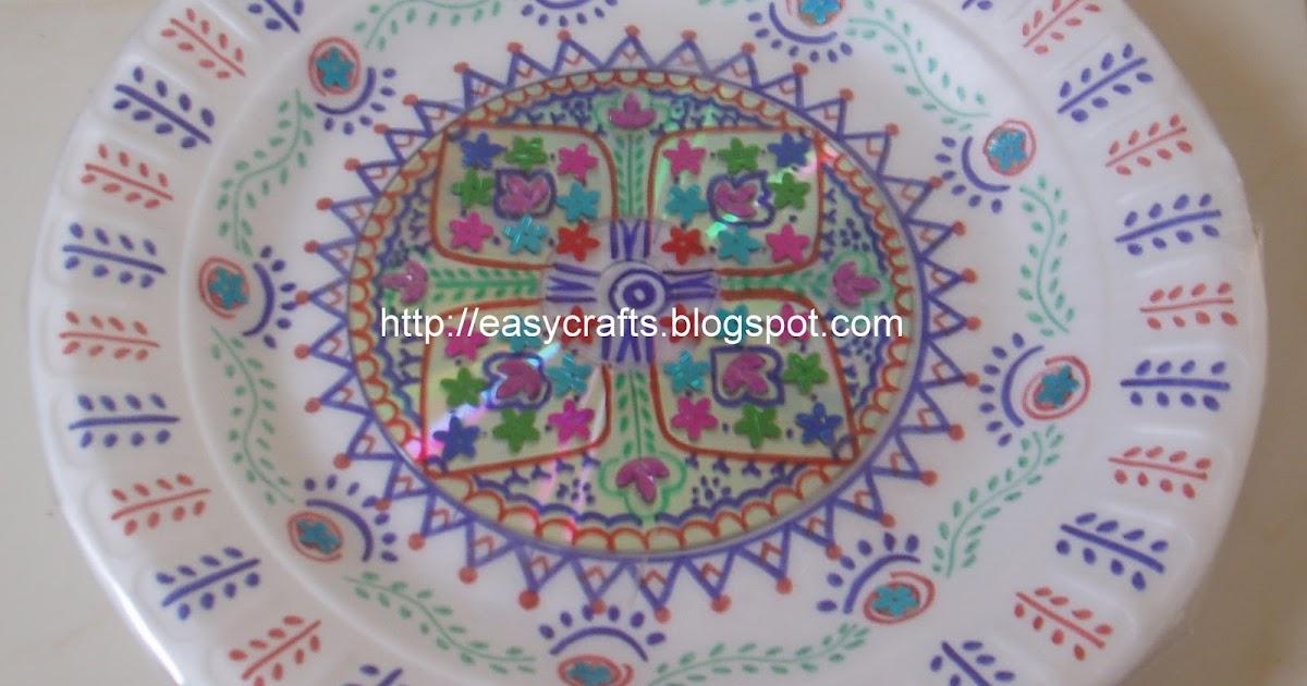 Easy crafts explore your creativity decorative aarti plate for Arathi thattu decoration