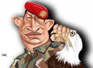 dessin humoristique de Hugo Chavez tordant le cou à l'aigle américain